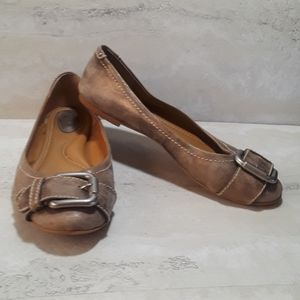 Fossil metallic gold & tan leather ballet flats